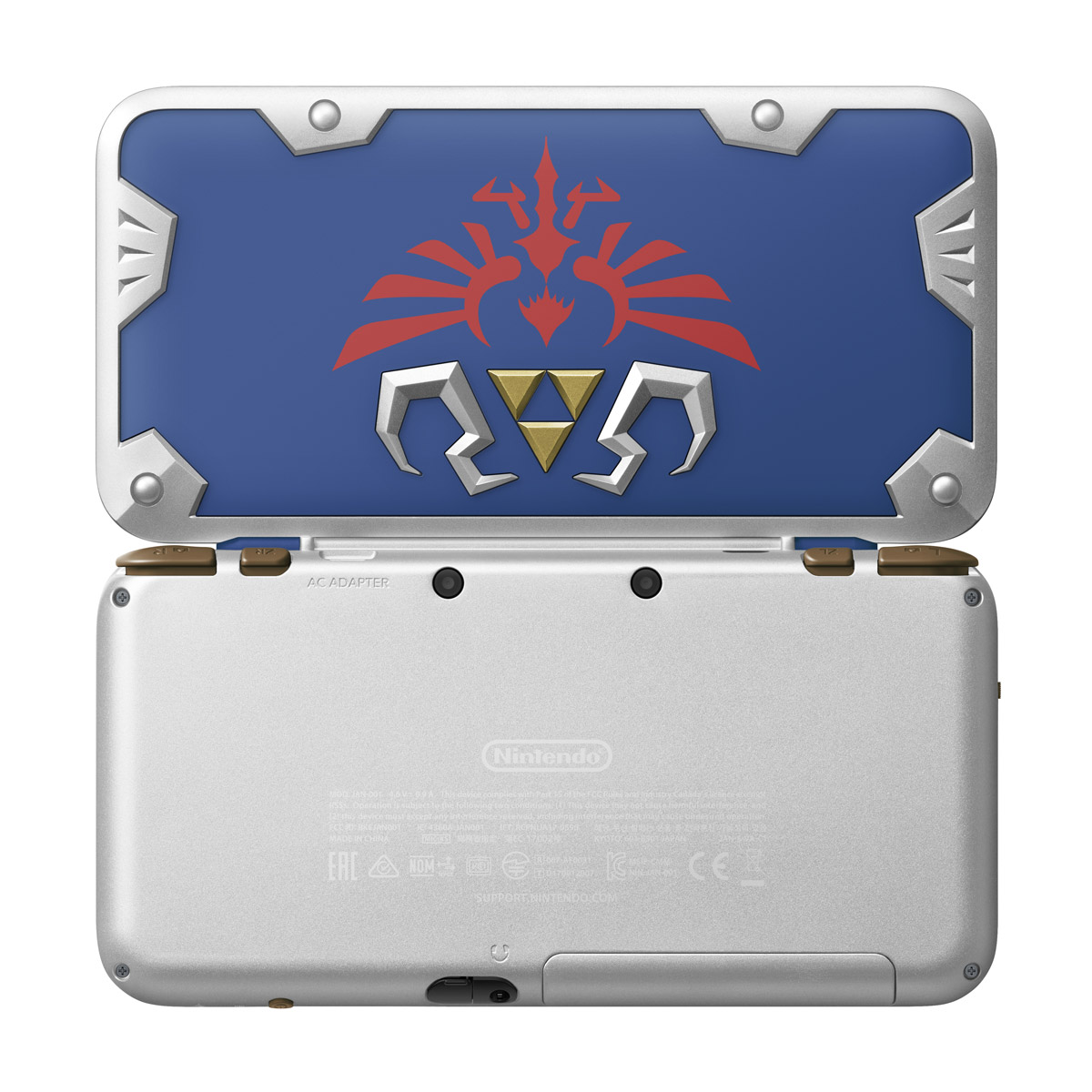 Full outside view of the upcoming Hylian Shield Edition New Nintendo 2DS XL