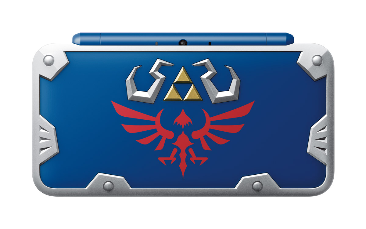 Detailed top view of the upcoming Hylian Shield Edition New Nintendo 2DS XL