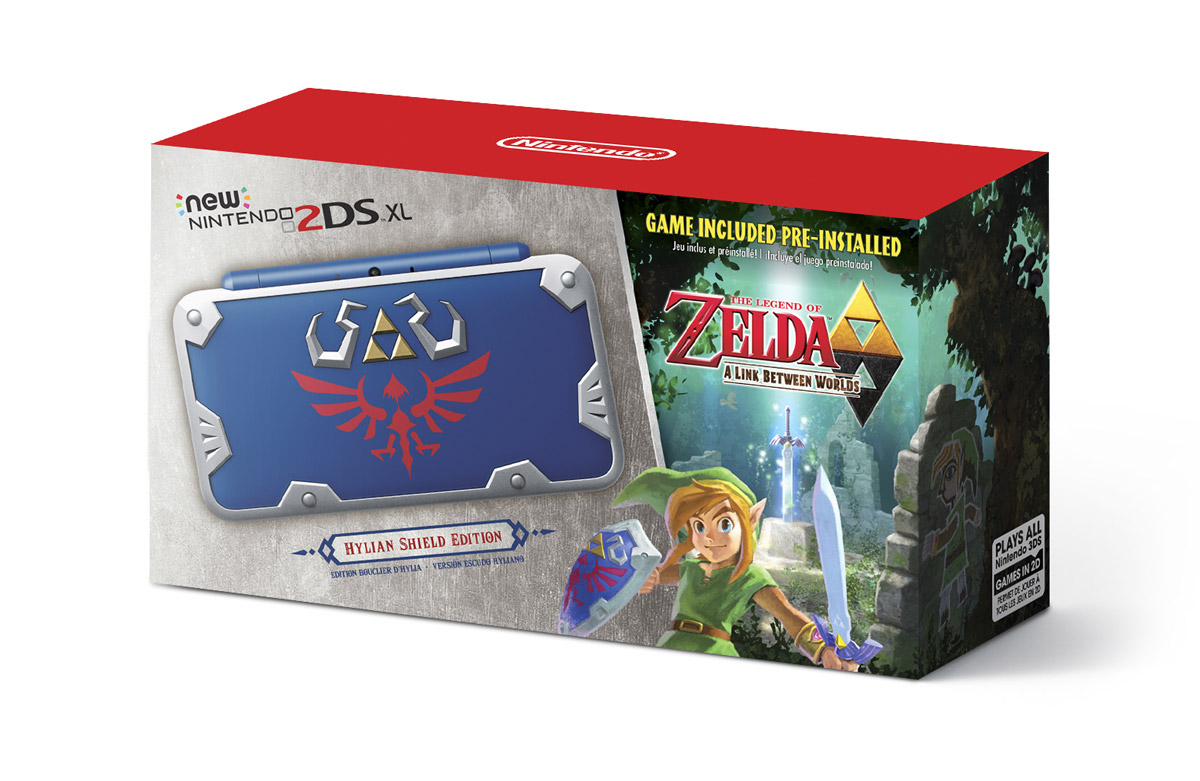 The beautifully adorned box of the upcoming Hylian Shield Edition New Nintendo 2DS XL